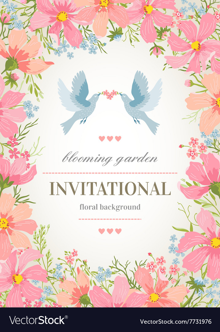 Wedding Invitation Card With Flower Frame