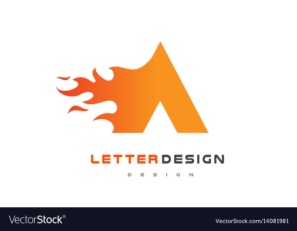 A letter flame logo design fire logo lettering vector image