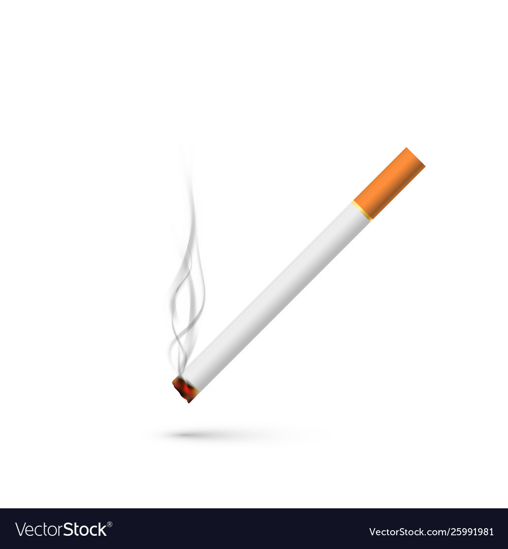 Cigarette with smoke in realistic style isolated