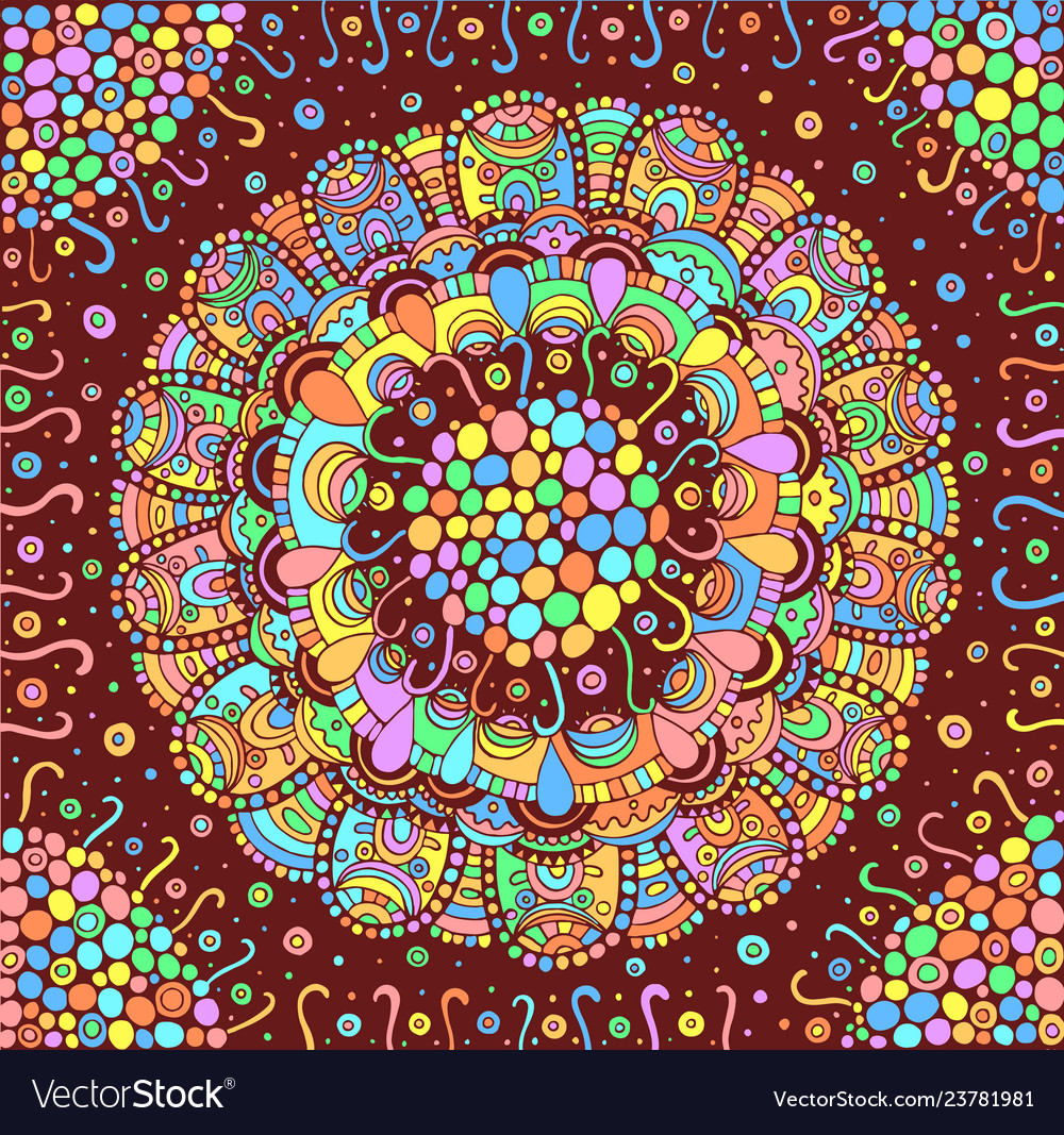 colorful flower mandala background doodle vector