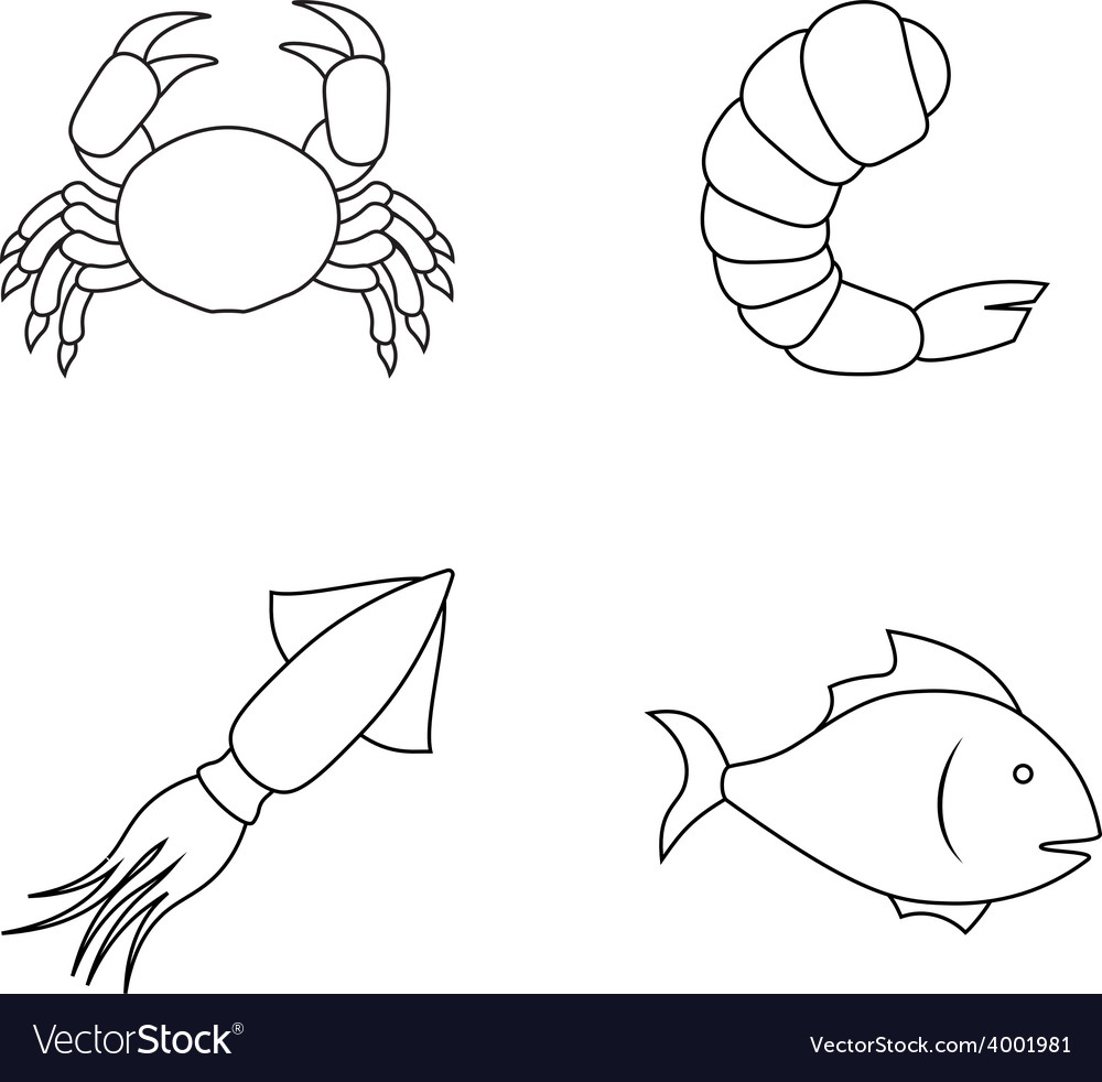 Four seafood icons