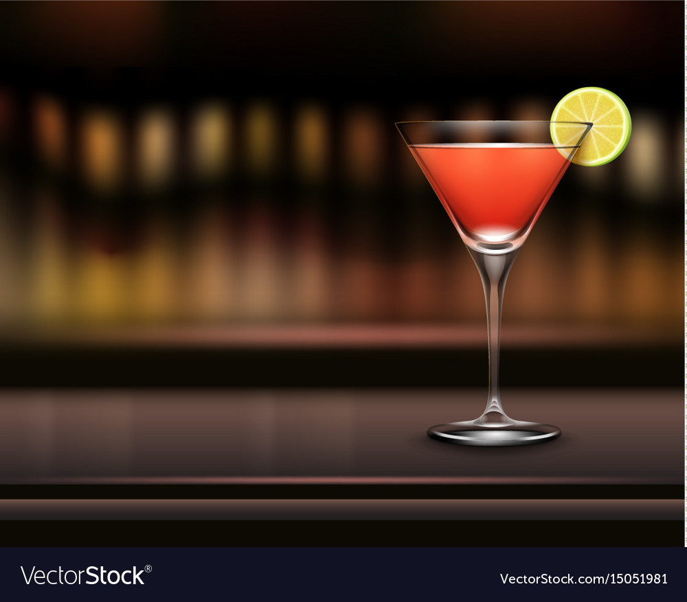 Glass of cosmopolitan cocktail