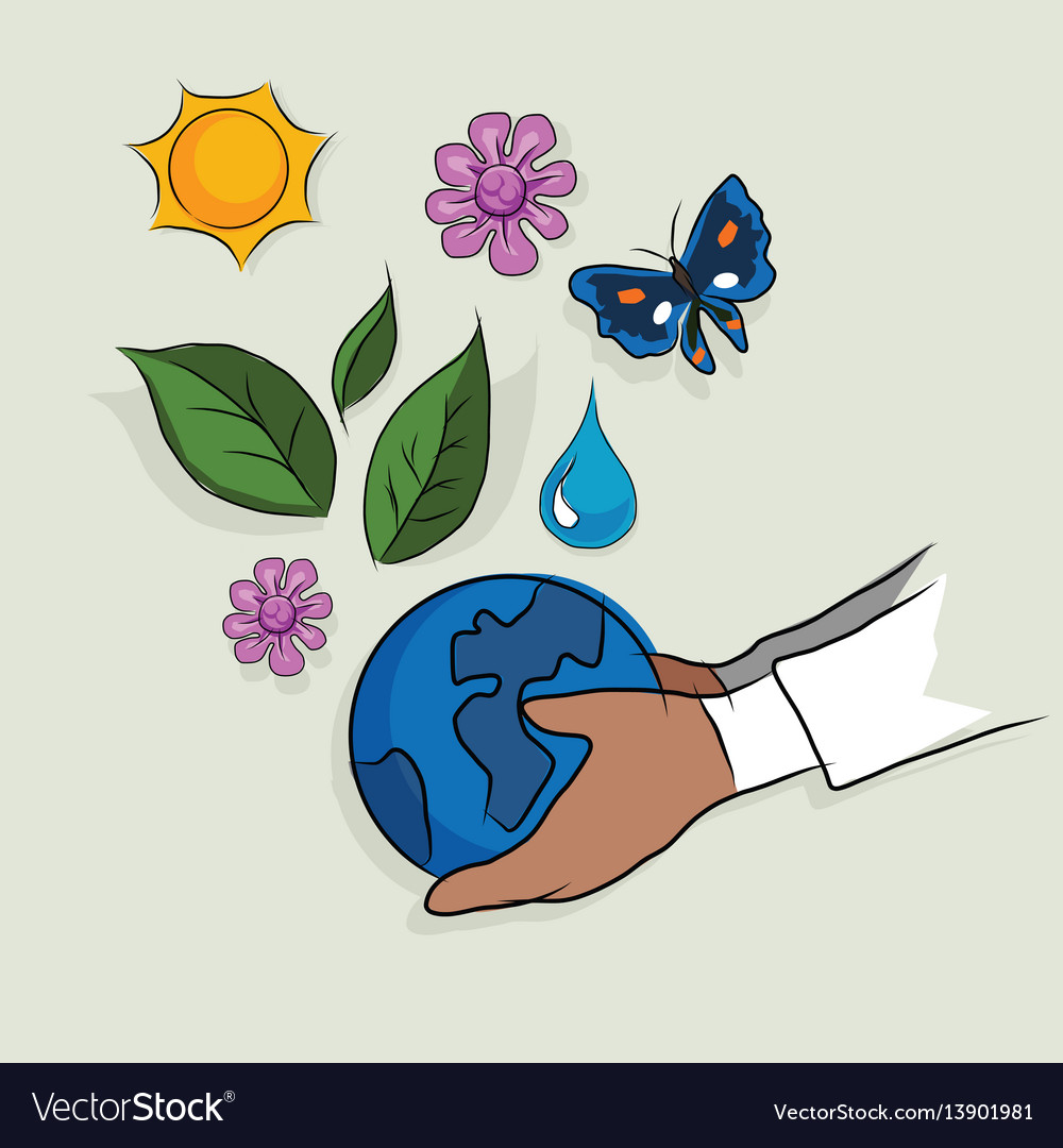 Hand holding globe ecology mother earth concept of
