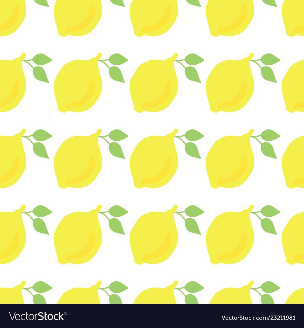 Lemons hand drawn seamless pattern white