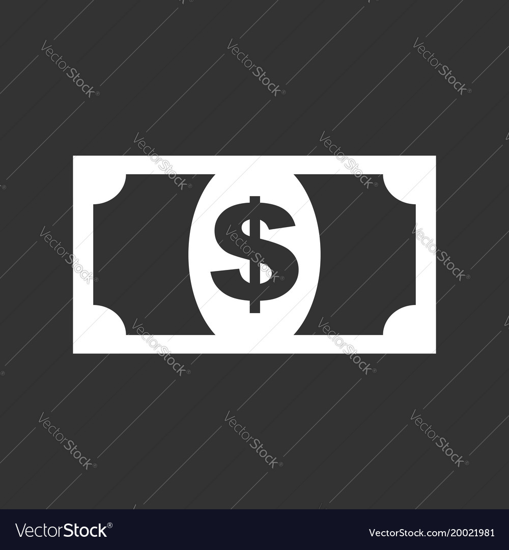 Money icon in flat style dollar on black
