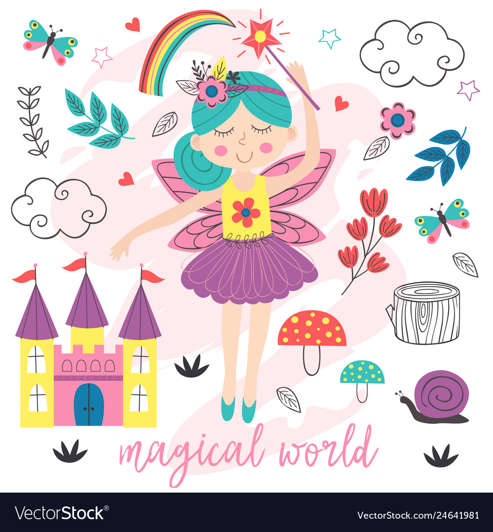Poster magical world with fairy