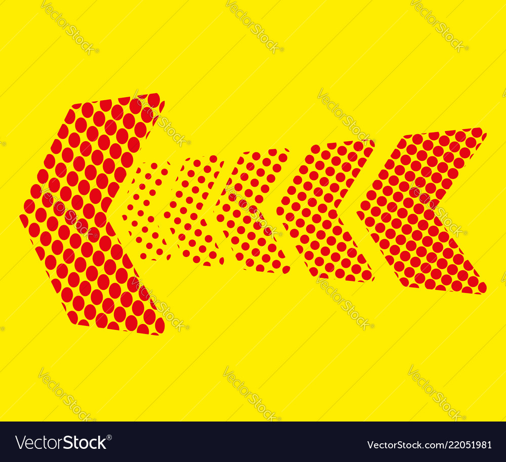 Red arrow of dots on yellow background