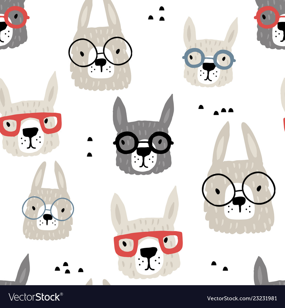 Seamless pattern with funny alpaka in glasses