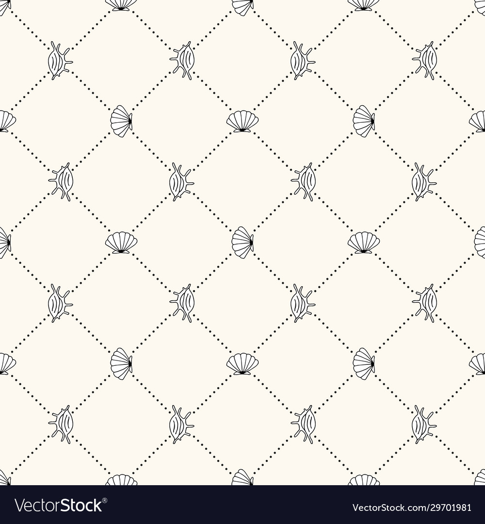 Seamless sea life monochrome geometric