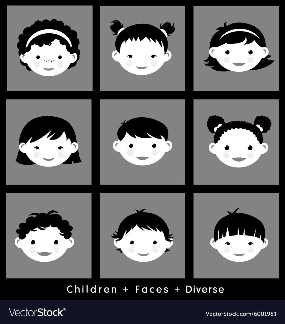 Set cute faces ethnic children flat style vector image