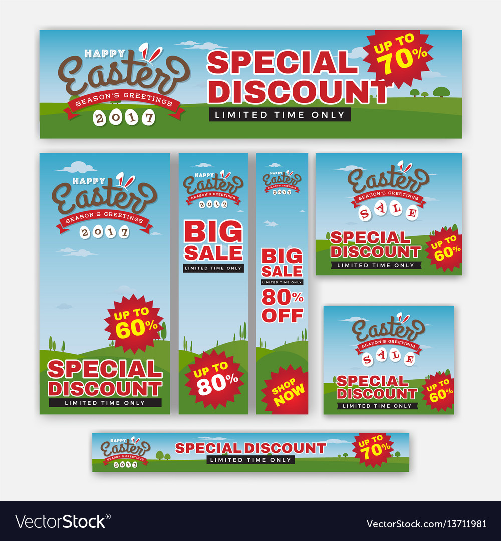 Set of easter sale special discount web banner