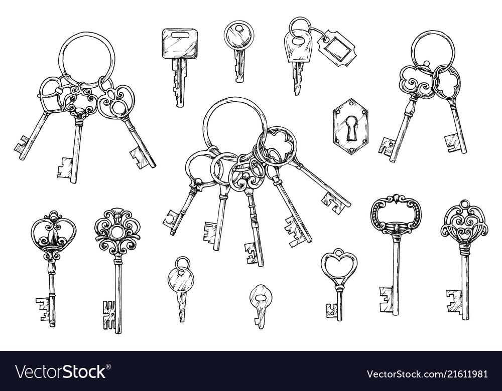 Set of hand-drawn antique keys