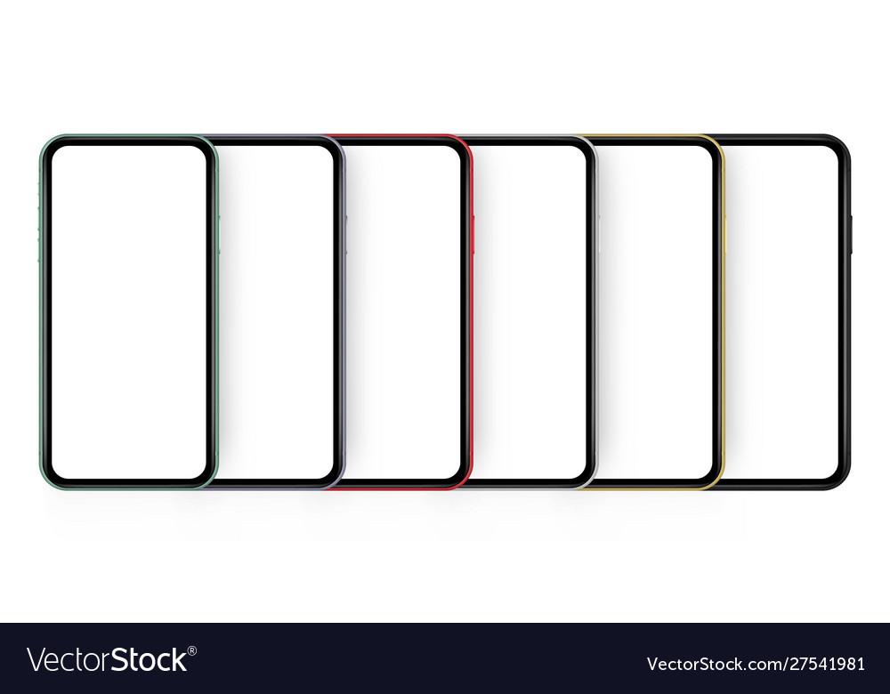 Set six modern colorful cellphones