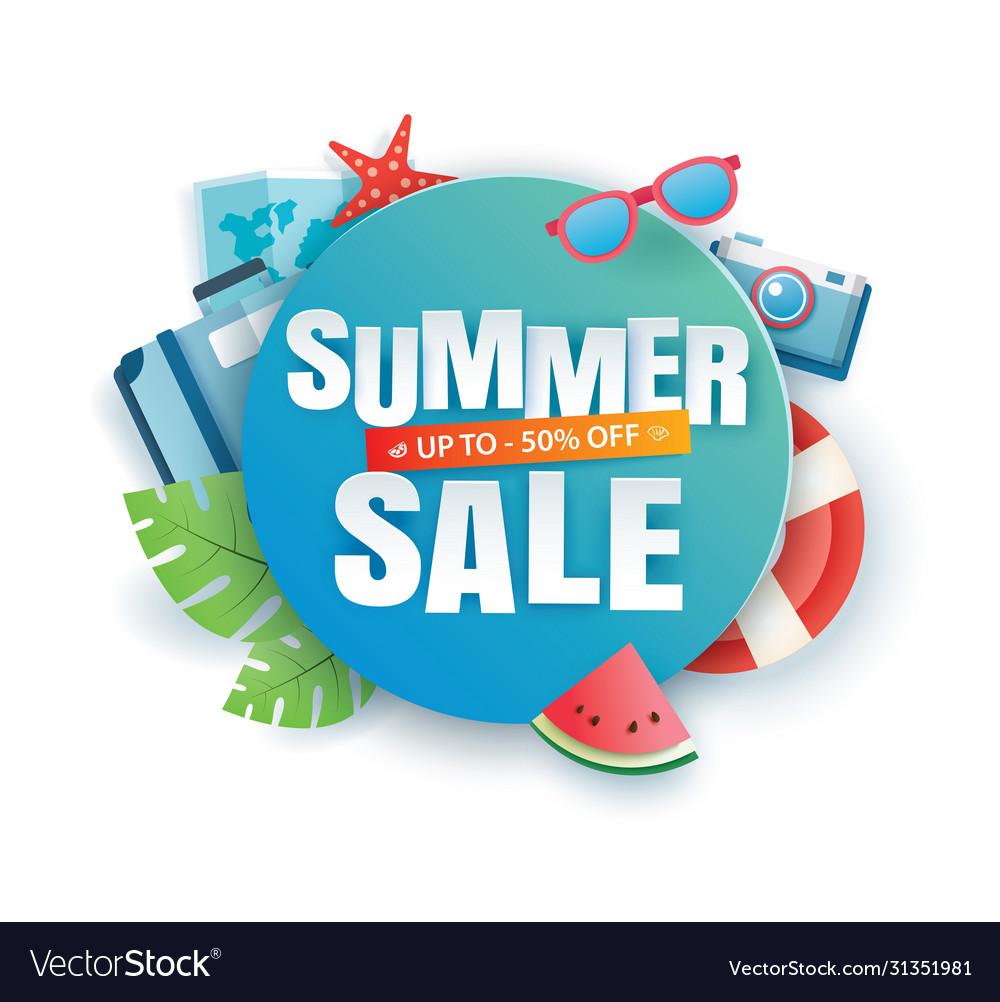Summer sale banner paper cut template blue