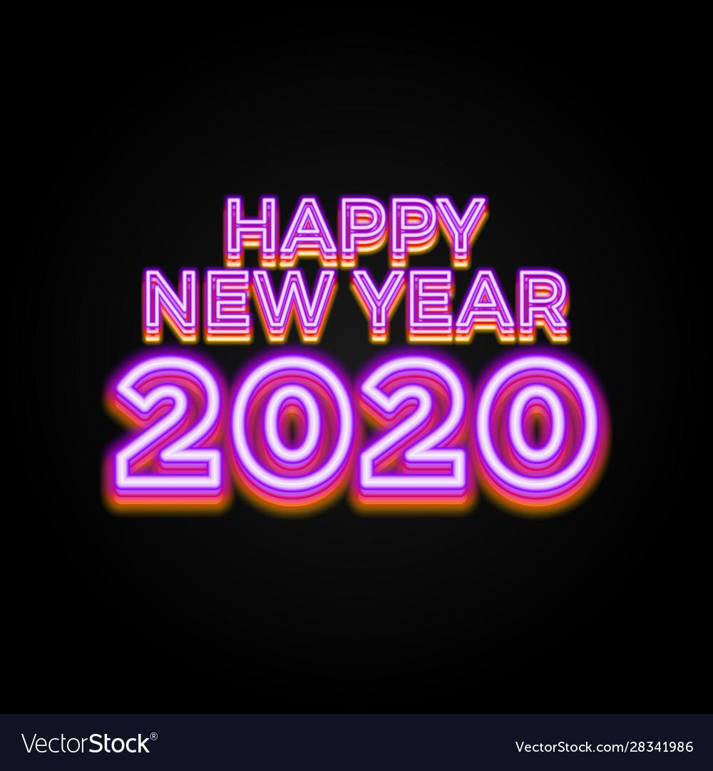 2020 happy new year luminous neon creative design