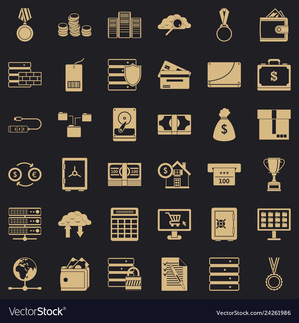 Business diagram icons set simple style