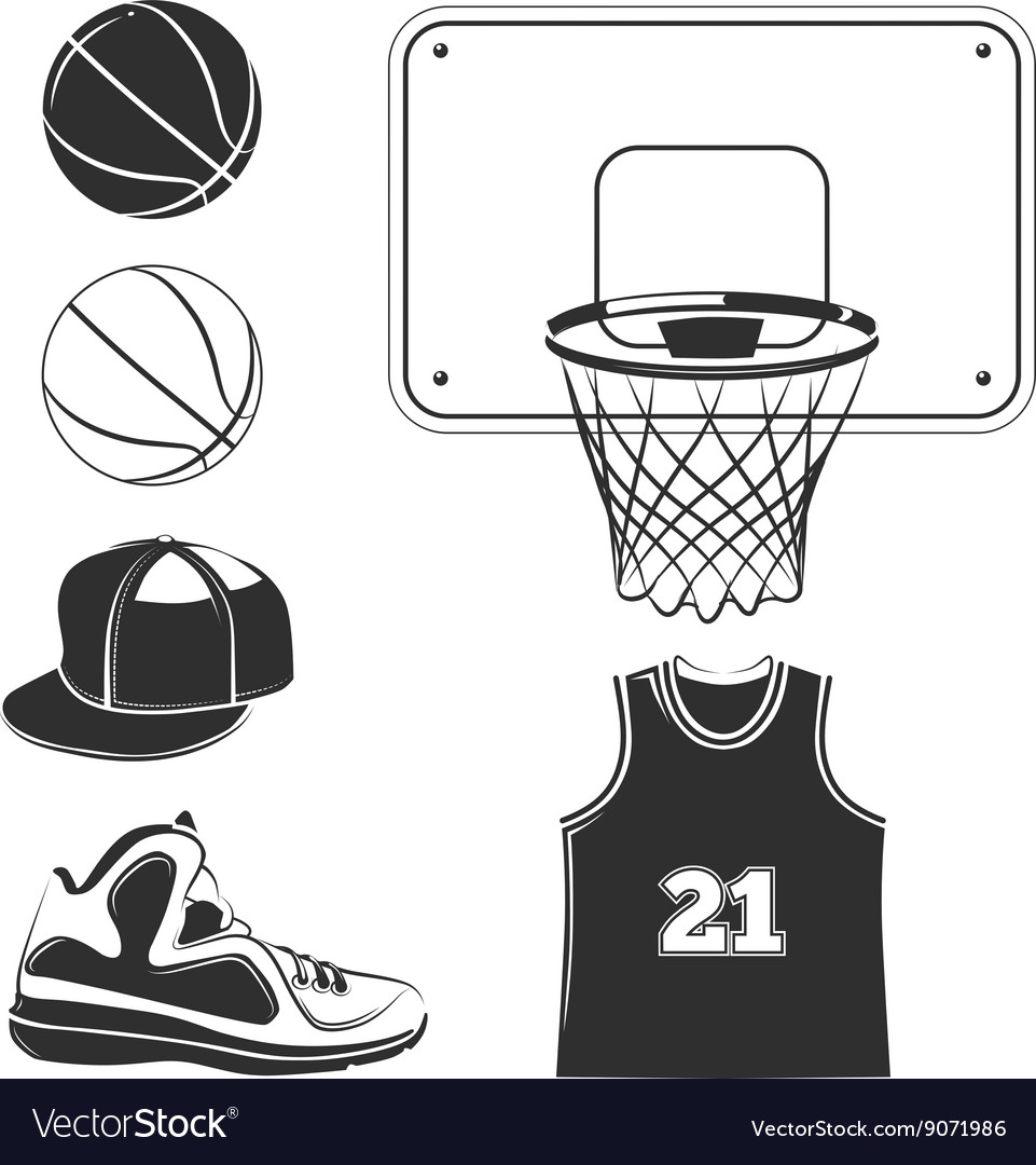 Elements icons for basketball club labels