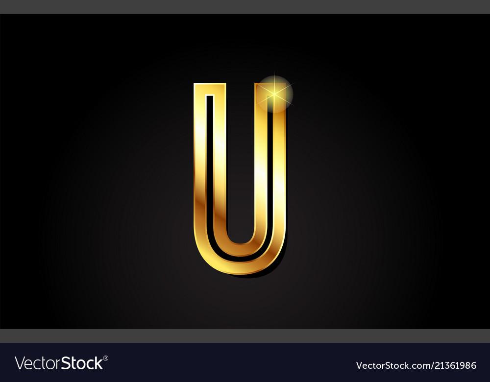 Gold Alphabet Letter U Logo Icon Design