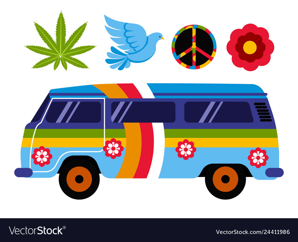 Hippie van or bus isolated vehicle and subculture