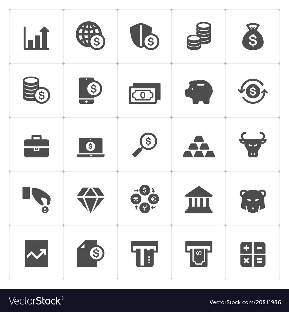 Icon set - money and finance solid icon vector image