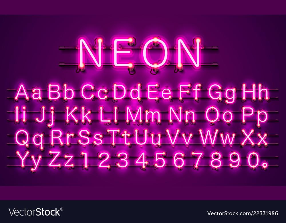Neon font city color purple alphabet font