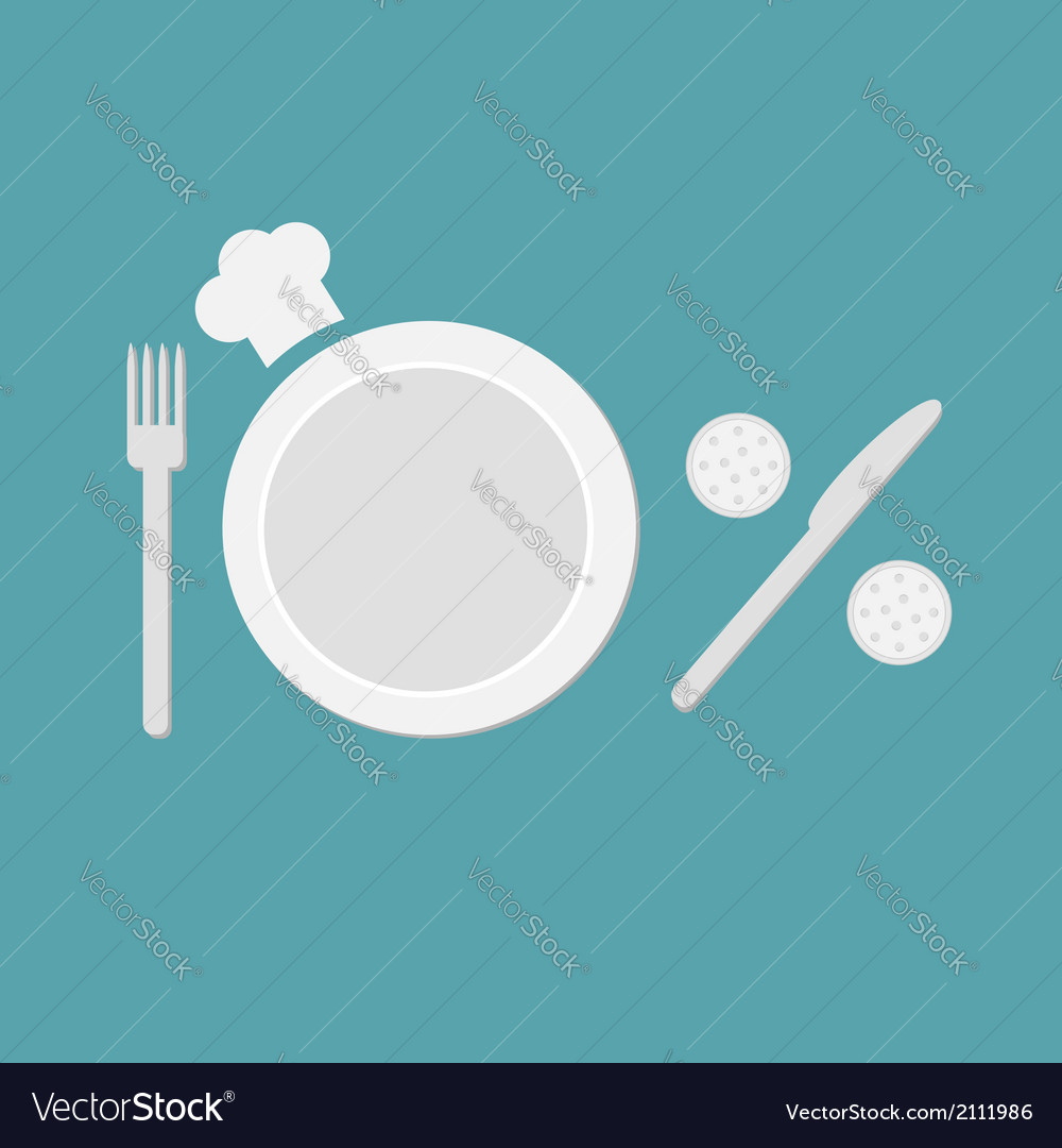 Plate fork knife salt and pepper shaker chefs hat vector image