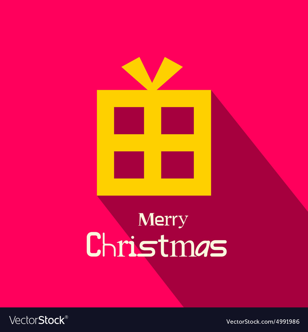 Retro Merry Christmas Card with Orange Gift Box on vector image