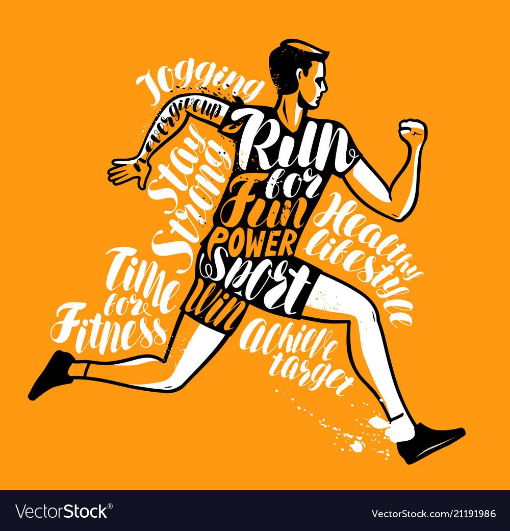 Running man or sportsman sport fitness poster