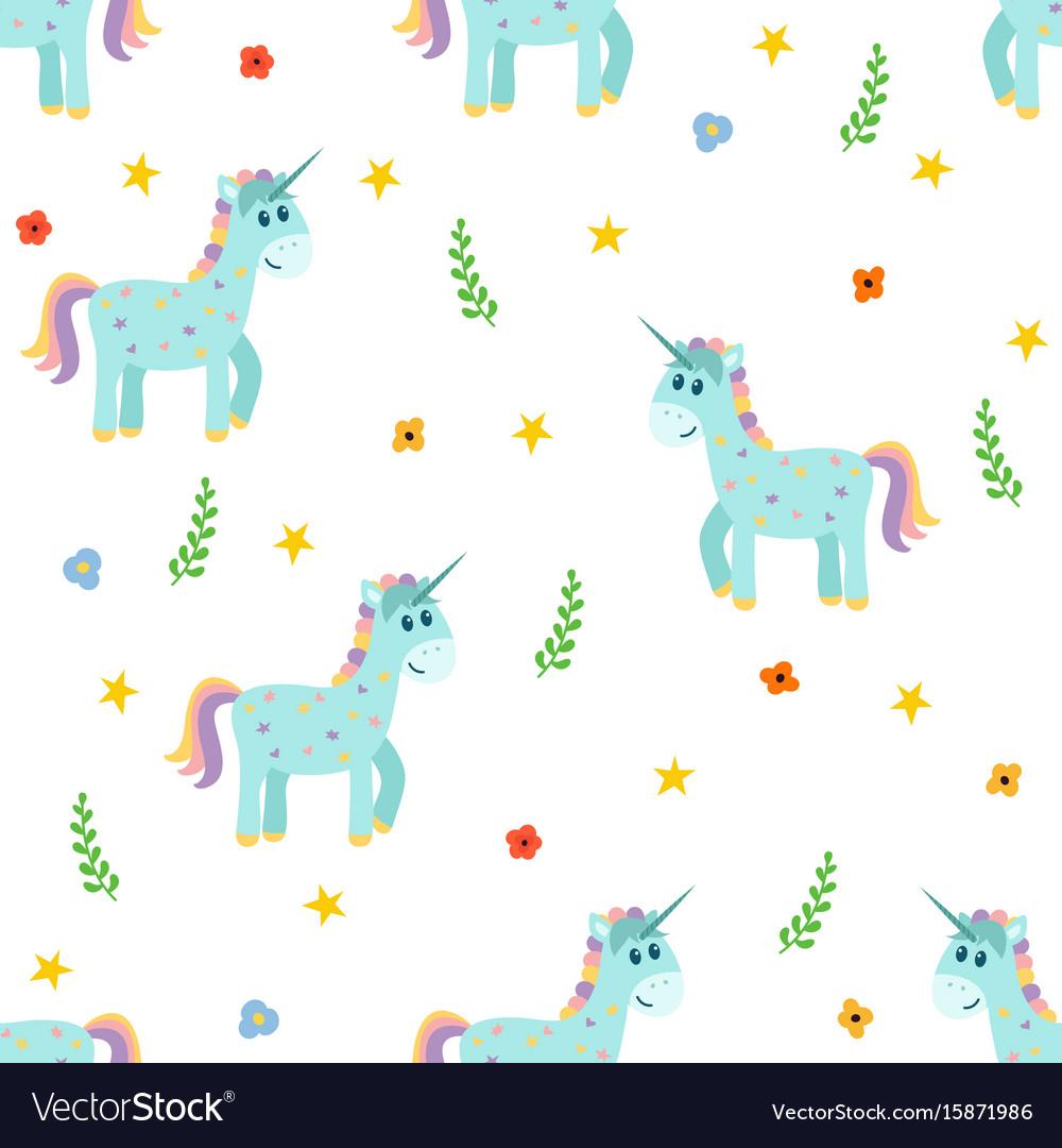 Seamless pattern with cute unicorns fashion