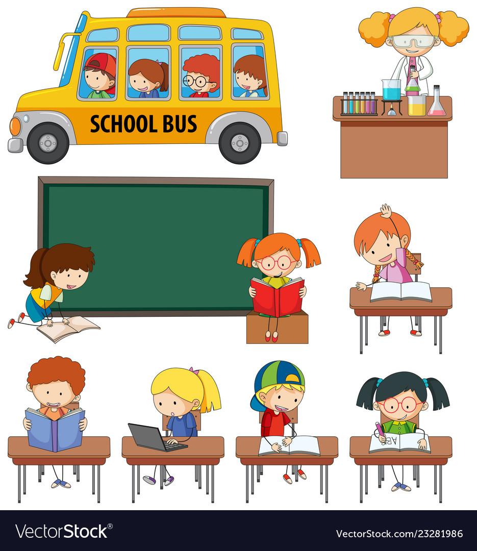 Set of doodle kids learning