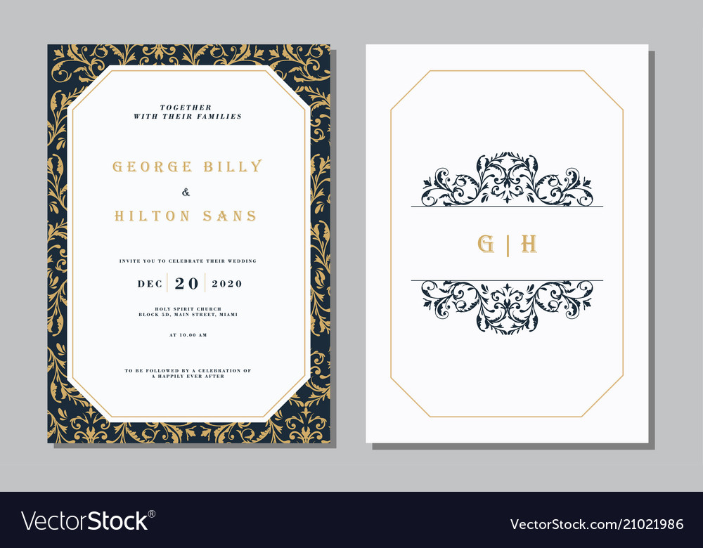 Set vintage wedding invitation card