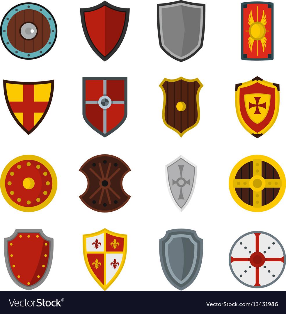 Shield frames set flat icons