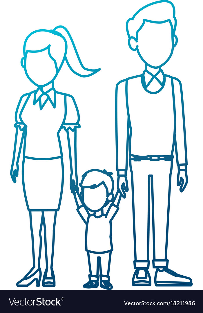 Young family cartoon