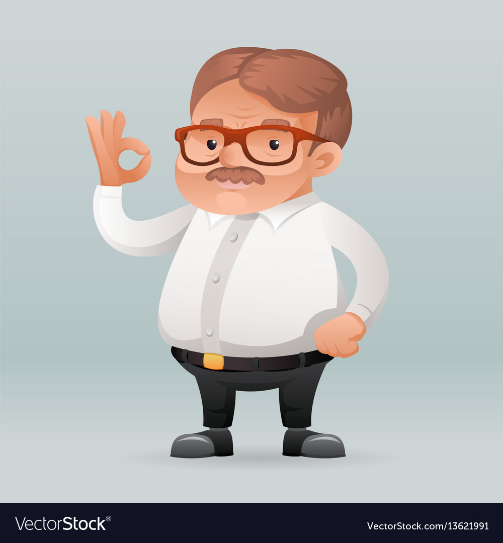 Adult businessman worker ok hadn sign icon retro vector image