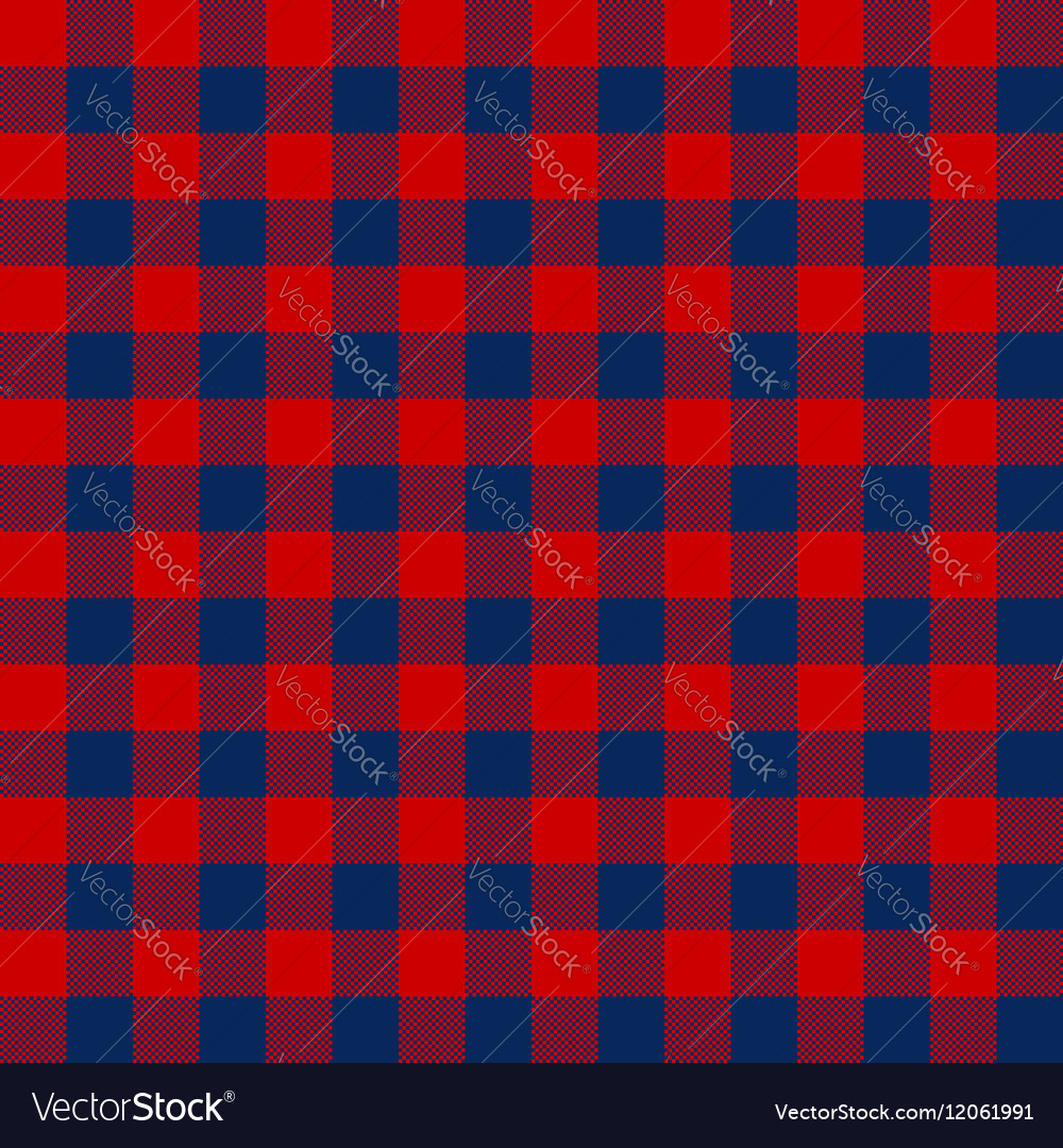 Blue red check textile seamless pattern