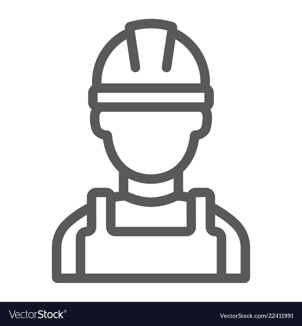 Builder line icon engineer and man