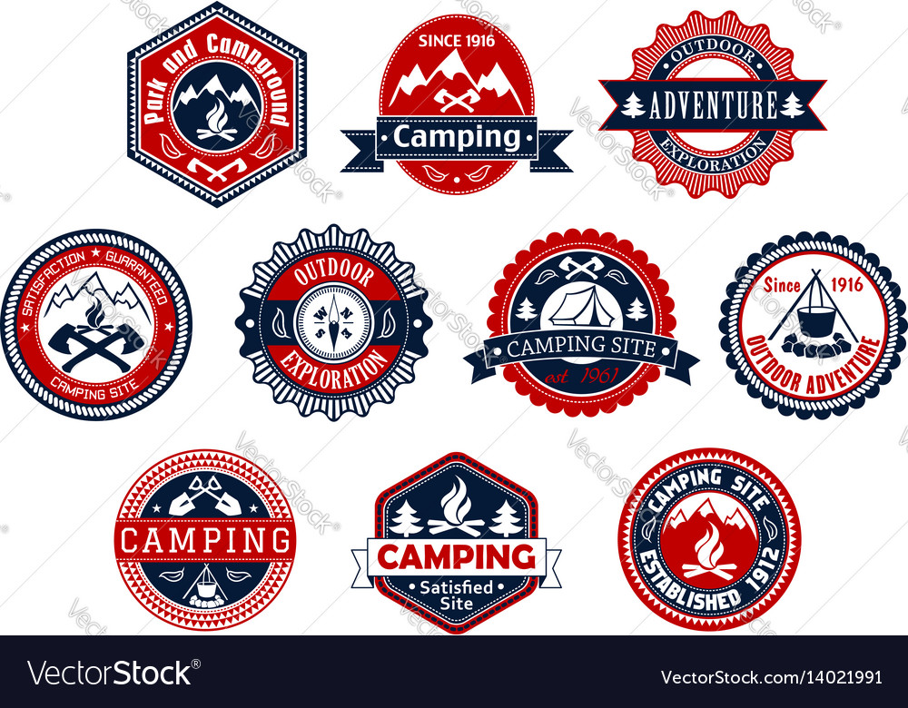 Camping outdoor adventure badge for travel design