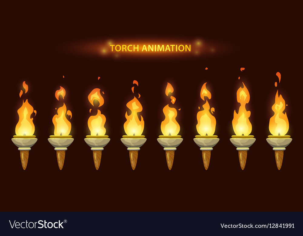 Cartoon torch animation vector