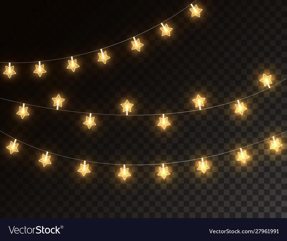 Christmas Star Lights Isolated On Dark