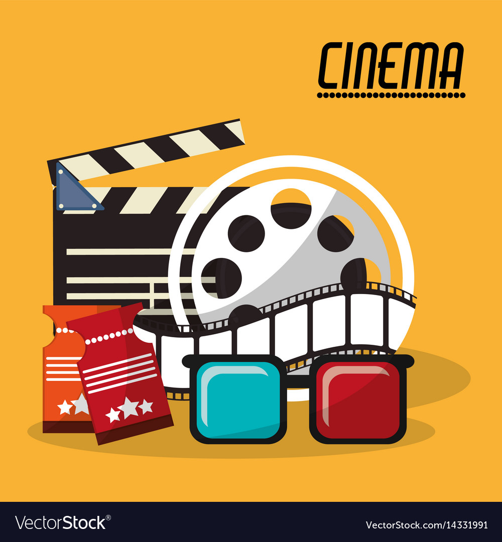 Collection cinema film reel strip glasses and