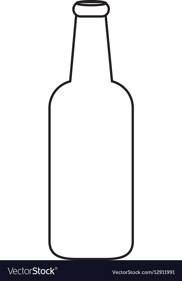 Contour bottle of beer icon design Royalty Free Vector Image