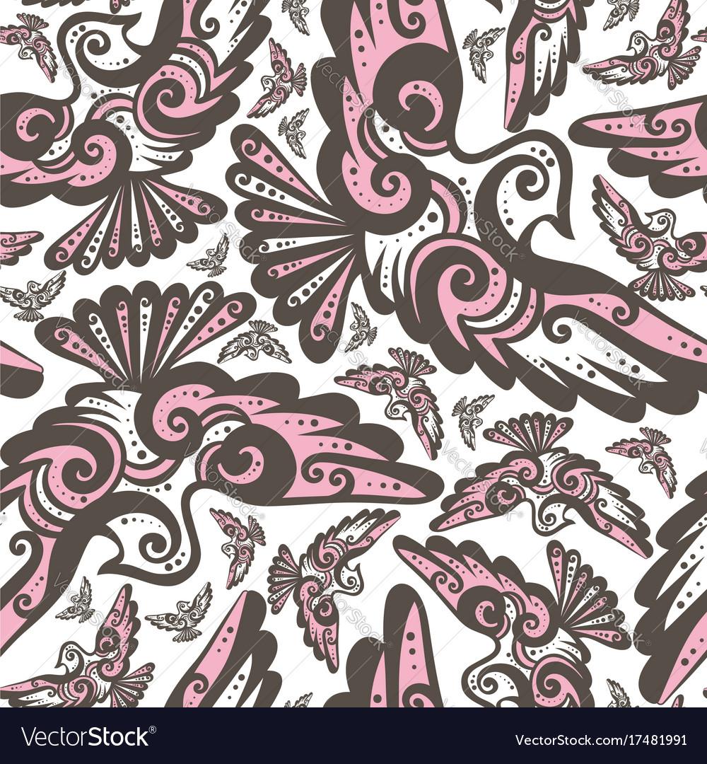 Fairy bird seamless repeat pattern