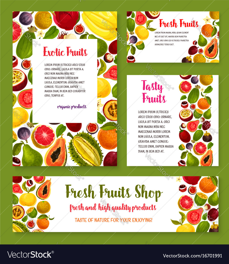Fresh exotic tropical fruit banners