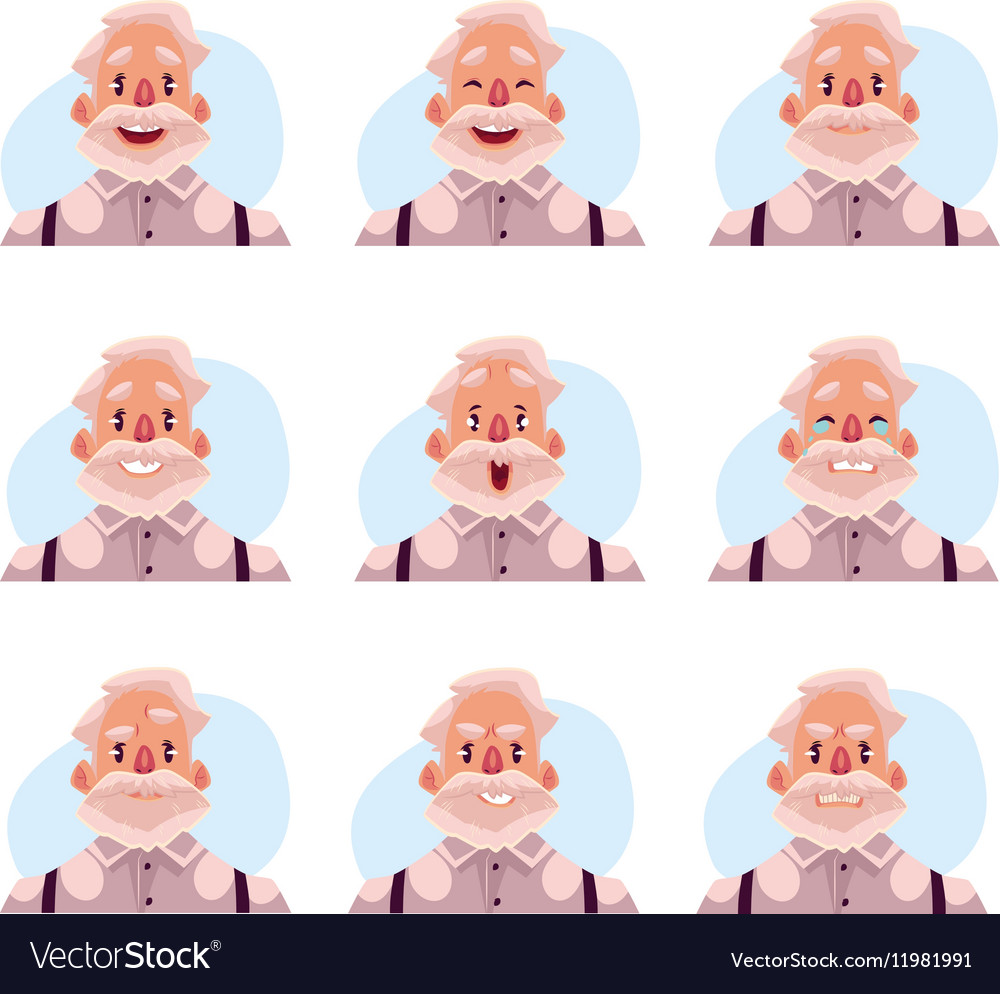 Grey haired old man face expression avatars