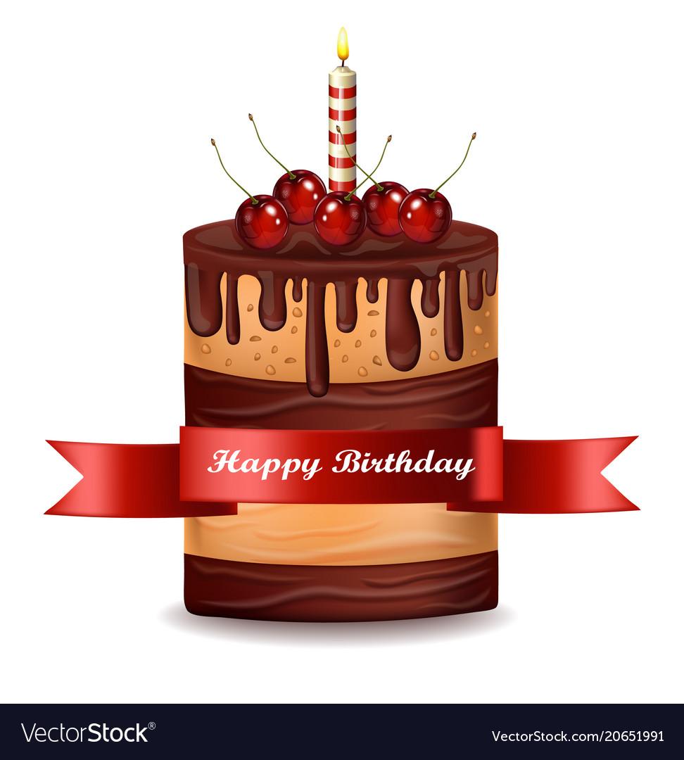 Happy brithday cake chocolate cake with vector image