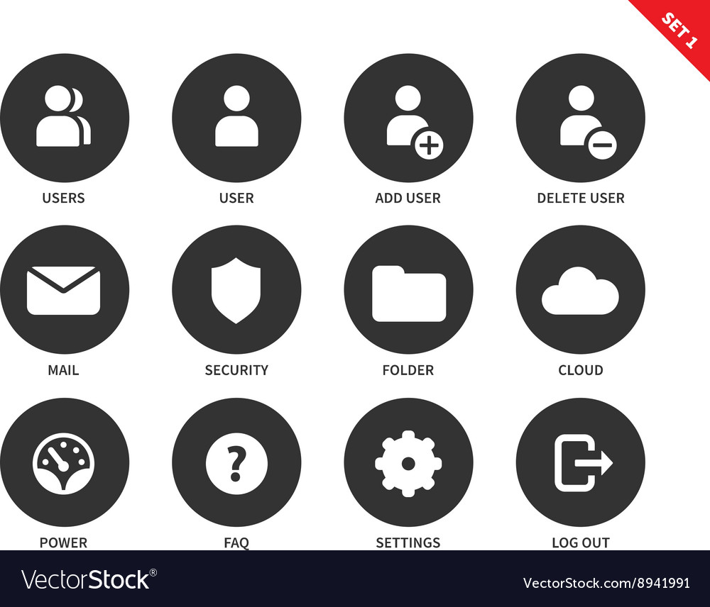Internet account icons on white background