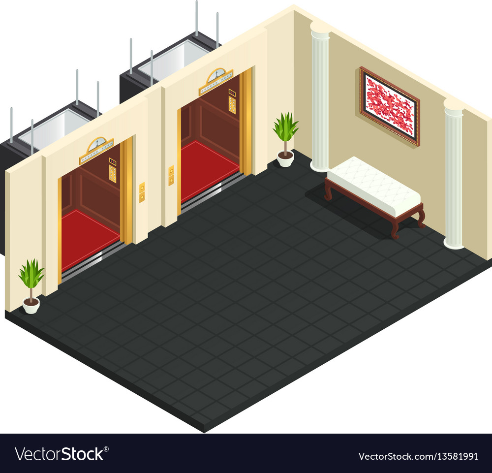Lift lobby isometric interior
