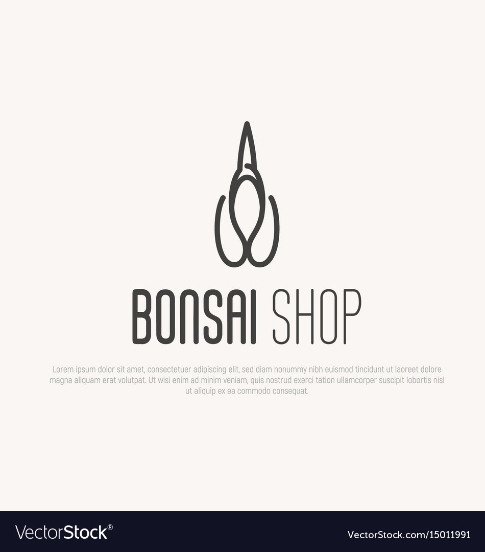 Logo for plant bonsai or flower shop vector image