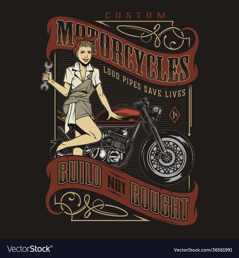 Motorcycle repair service vintage emblem