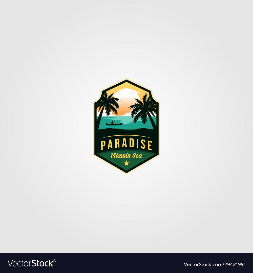 Ocean tropical paradise logo vintage design